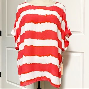 Coral Red White Strip Dolman Oversized Tunic M